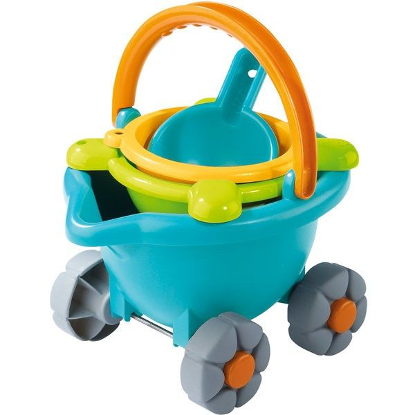 The perfect accessory for a day in the summer sun. http://www.entropy.com.au/haba-beach-play-sand-bucket-scooter #sandplay #outdoortoys #sandcastles #Haba