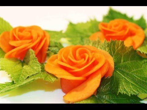 Art In Carrot Rose Flower | Vegetable Carving Garnish | Food Decoration | Party Garnishing - YouTube