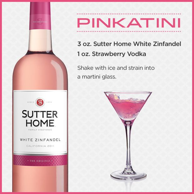 Pinkatini wine cocktail: Sutter Home White Zinfandel and strawberry vodka. Got to make this for cousin Shel
