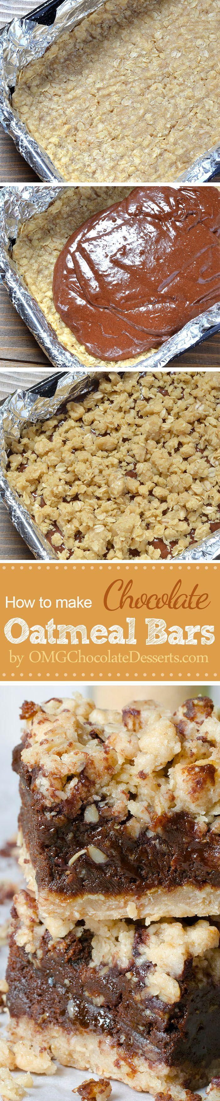 Chocolate Oatmeal Bars | OMGChocolateDesserts.com | #oatmeal #chocolate #bars