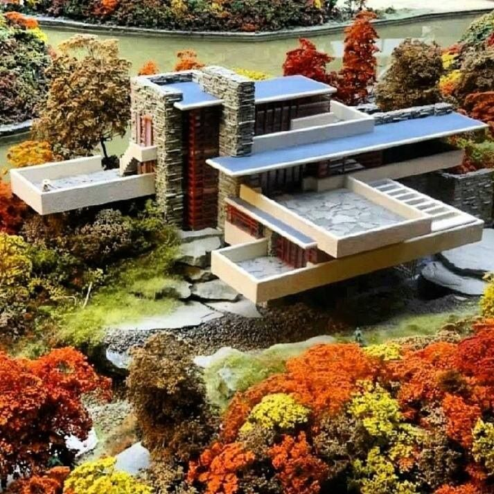 Maqueta de la casa de la cascada cositas para for Frank lloyd wright casa della prateria