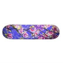 Colorful pink blue abstract floral design skateboard deck