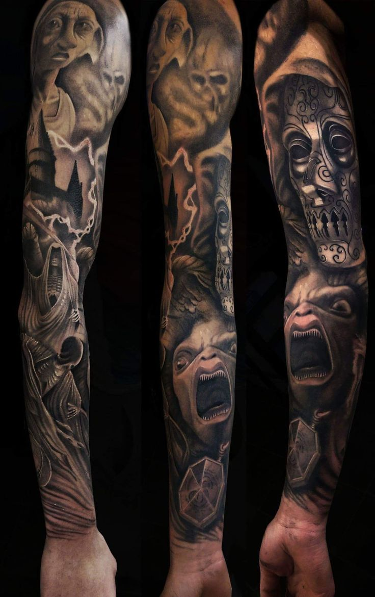 This is a Harry Potter themed sleeve by myself @MartinMooreTattoos as a massive a Harry Potter fan I was very excited to do this sleeve. Please let me know what you think