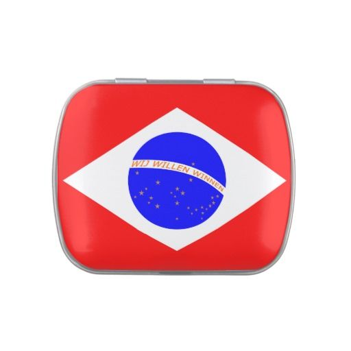 Snoepdoos met Braziliaanse vlag in rood-wit-blauw. Te vullen met snoep naar voorkeur (kleur en soort).