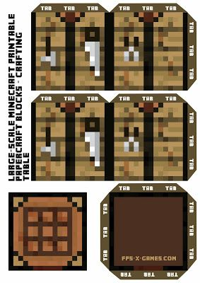 Large Scale - Minecraft Crafting Table Block #minecraft #printable #papercraft