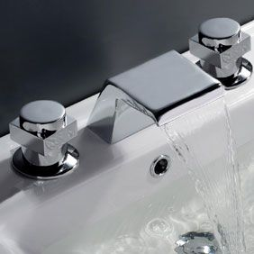 Contemporary Waterfall Bathroom Tap (Chrome Finish, Widespread) T7005