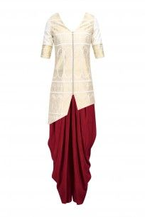 Cream and Gold Baluchari Jacket with Red Dhoti Pant