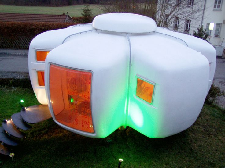 """Jean Maneval - Six-Shell Bubble House (1963-4) - Used to equip an experimental holiday village set in Gripp in the Hautes-Pyrenees, the ensemble was made up of twenty identical """"bubble-houses"""", factory-built. They required minimum installation at the building-site and which, thanks to their shape and their colour (white, green, brown), blended perfectly with the landscape. Today, one house is part of a collection of the Vitra Museum and the Museum of Modern Art, in Saint Etienne (France)."""