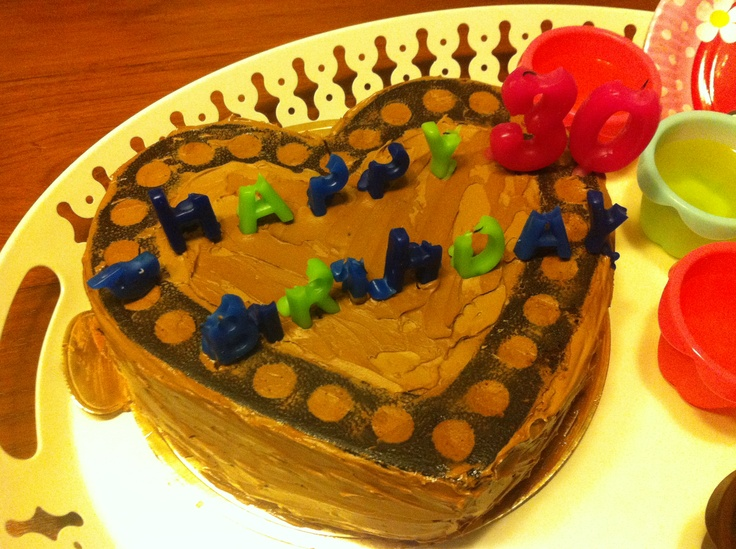 Dai ga Jie's 30th chocolate birthday cake! My first attempt :)