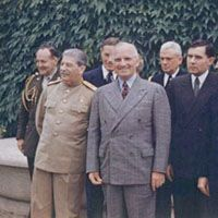 Milestones:  1937–1945-The Potsdam Conference, 1945.Soviet Leader Joseph Stalin and President Harry Truman (pictured).
