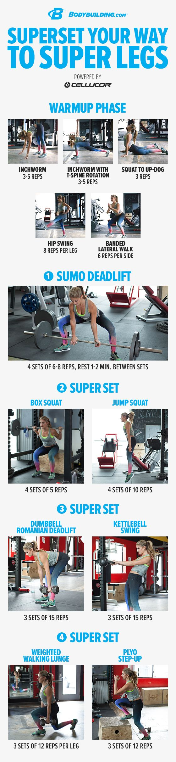 Superset Your Way To Super Legs! This power-developing leg workout will improve the strength and look of your glutes, hamstrings, and quads. Give it a try!