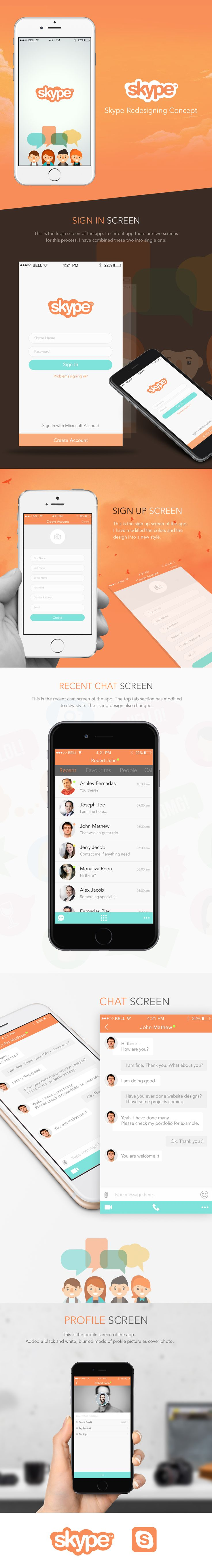 Skype Redesigning Concept on Behance