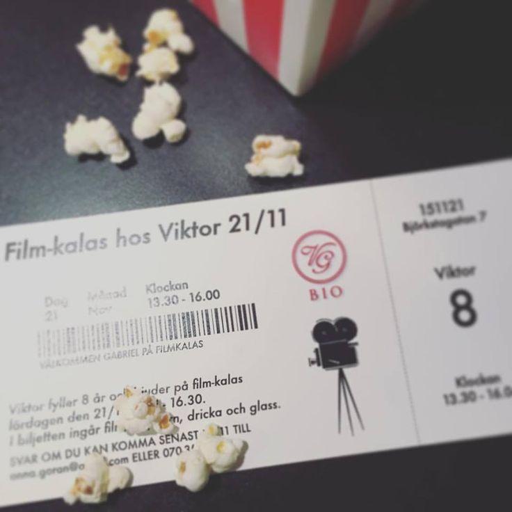 Inbjudan filmkalas, barnkalas Biobiljett Pappersboden Anna Göran Design