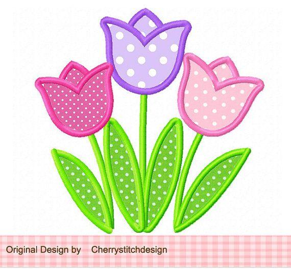 Cute Tulips Applique -4x4 5x7 6x10-Machine Embroidery Applique Design