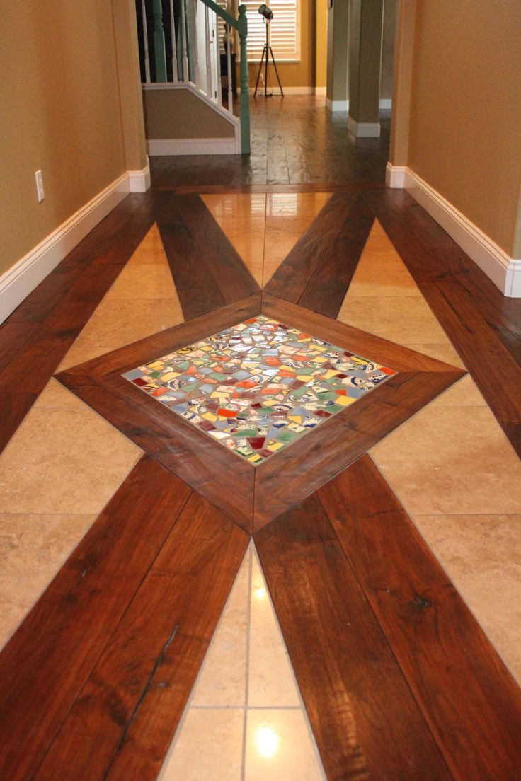 Entry Floor Design Distressed Walnut Hardwood Travertine Tiles