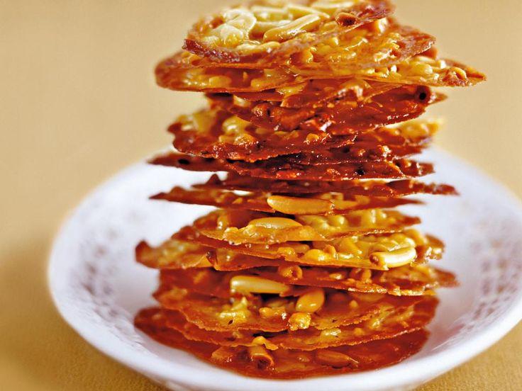 Knusper-Kekse. Honig-Florentiner mit Mandeln.