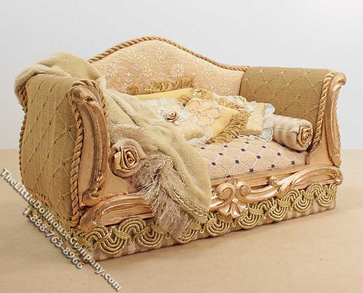 Miniature Yellow Sofa with Pillows and Blanket by Serena Johnson -