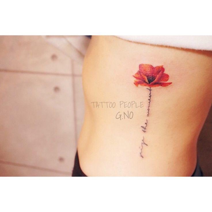 poppy flower lettering tattoo