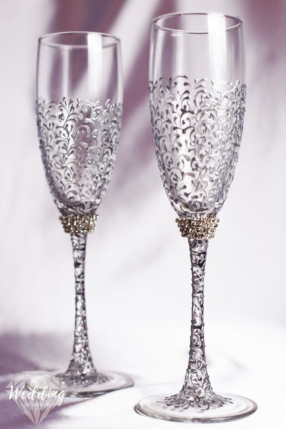 personalized Wedding glasses and Cake Server Set silver cake