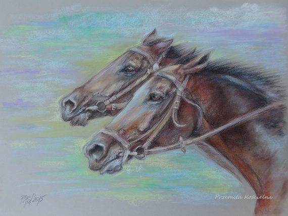 Two HORSES PORTRAIT ORIGINAL pastel drawing Hand by CanisArtStudio