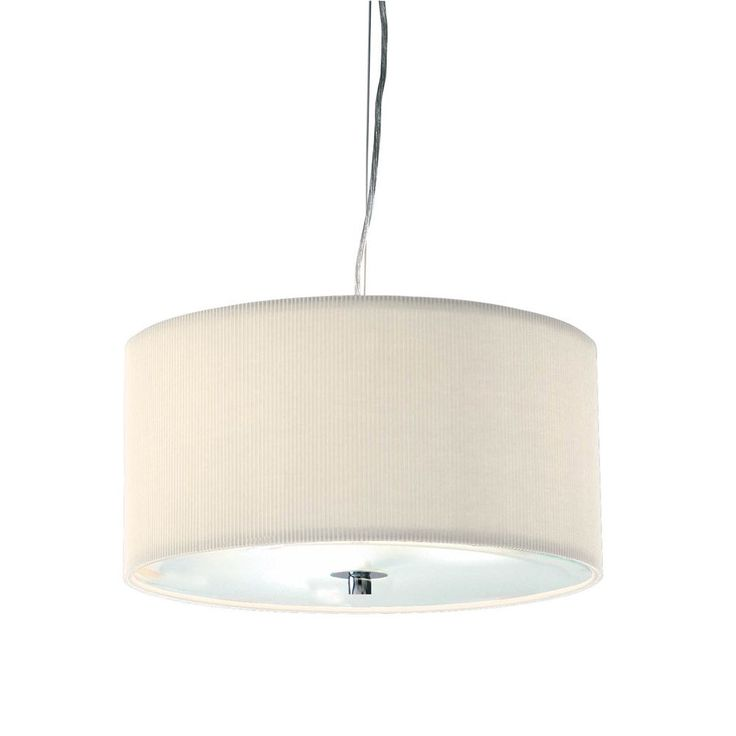 Kitchen Pendants - The Zaragoza Pendant Light is a Modern Fitting that is constructed of a Cotton Micro Pleated Shade with a Glass Diffuser. This particular shade has a Cream