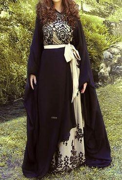 cream black lace abaya