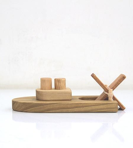 wooden boat bath toy // Brook Farm General Store