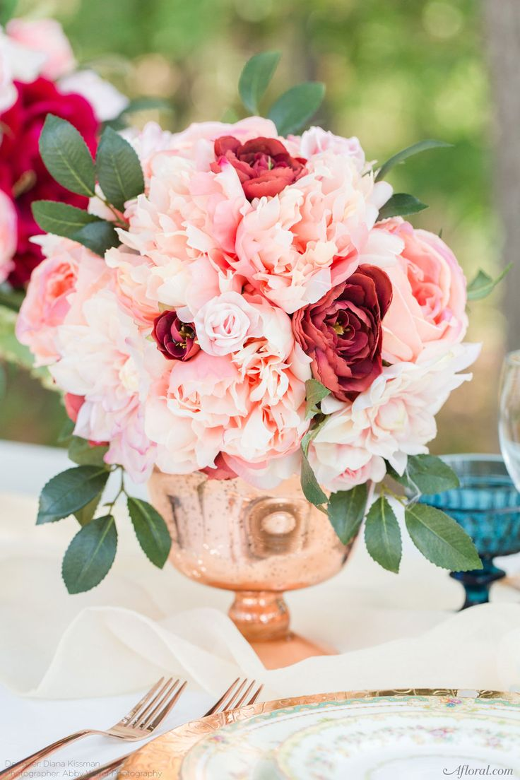 Silk flowers make gorgeous, long lasting wedding centerpieces. Find all the flowers here at Afloral.com.  Designer: Diana Kissman | Photographer: Abby Waller Photography