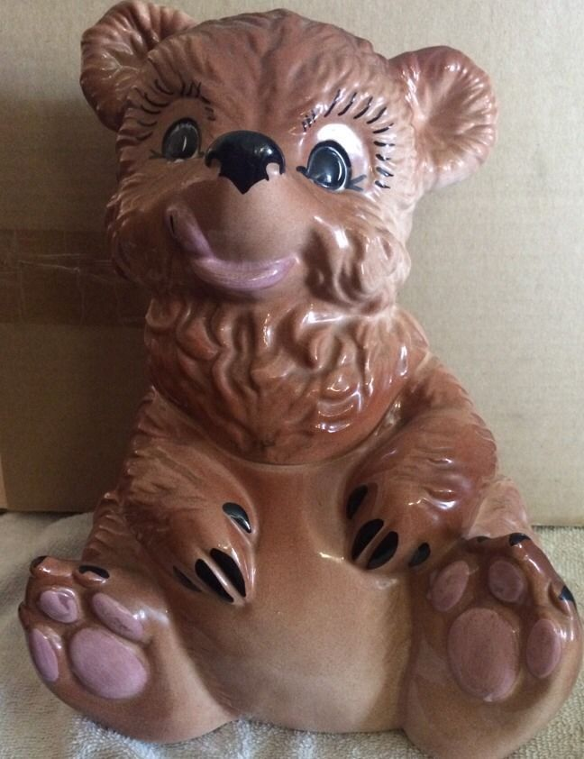 Vintage Gilner Ceramic Brown Bear Cookie Jar 1950s Usa