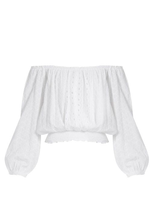 Melissa Odabash Adrianna off-the-shoulder broderie-anglaise top