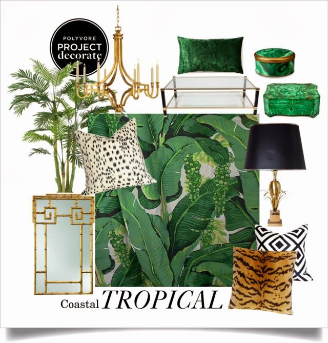 Tropical Coastal Decor: Polyvore's Project Decorate- The Glam Pad  I would make this less fancy (minimise gold and animal print) and substitute some pink and flamingo! Love the leaf background.