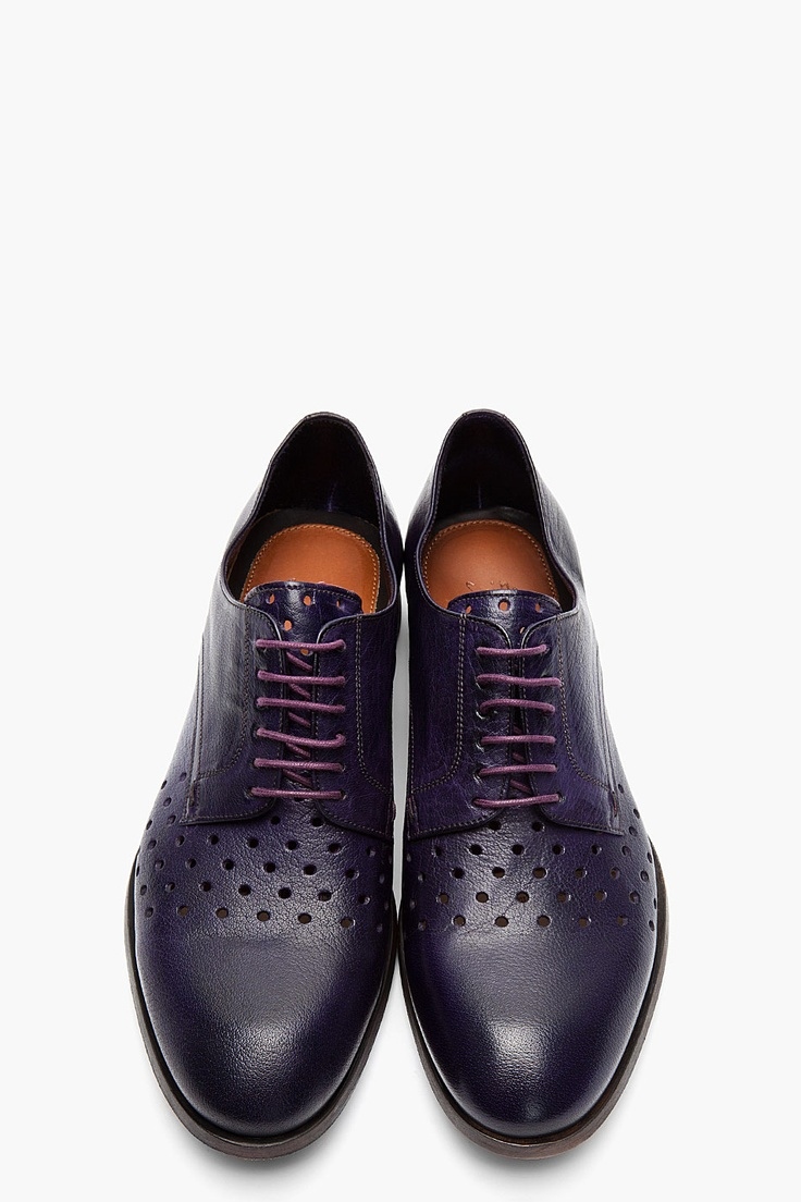 Paul Smith Purple Dip Dyed Perforated Leather Seagal Derbys