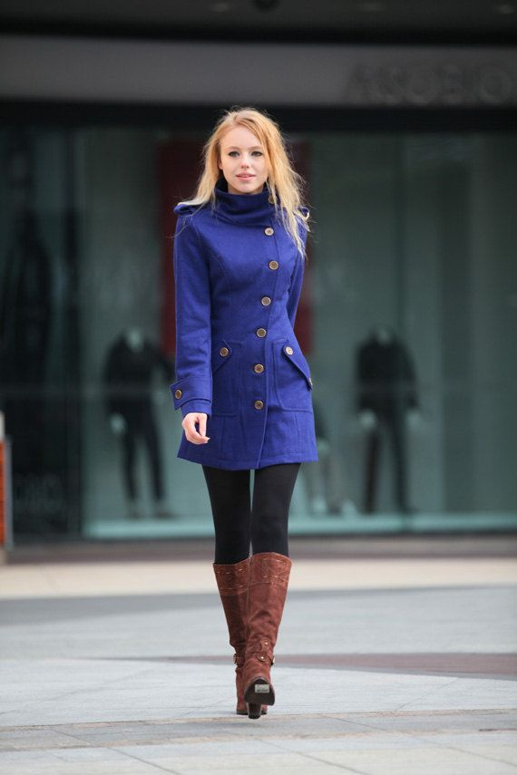 Blue Wool Coat Fitted Cashmere Coat Women Coat by Sophiaclothing, $109.99