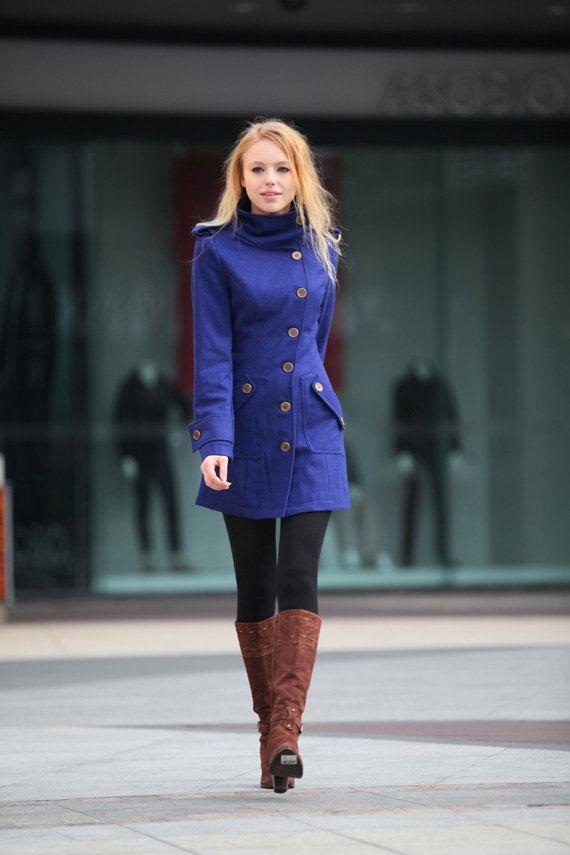 Blue Wool Coat Fitted Military Jacket Coat Women Coat Winter Co