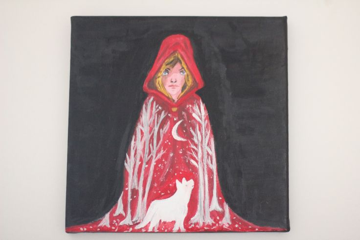 This is mine acrylic painting of the Little Red Riding Hood.