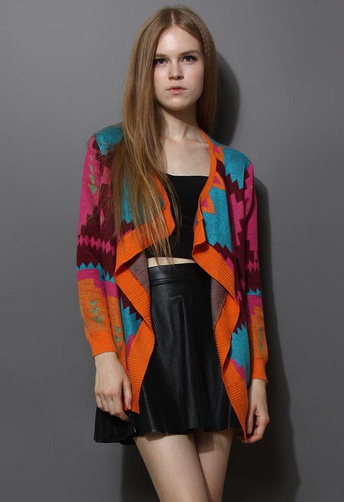 Neon Geometric Knit Drape Cardigan - Tops - Retro, Indie and Unique Fashion