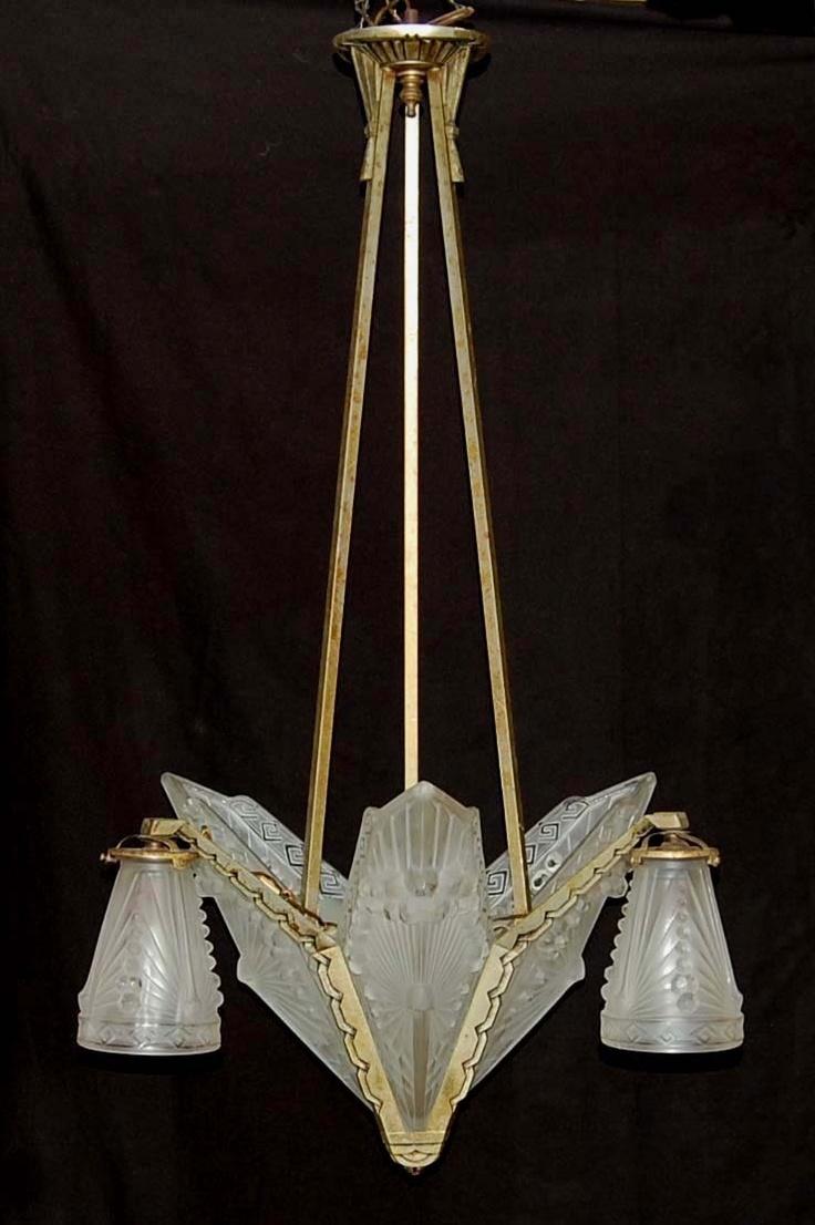 Antique art deco french schneider glass slip shade chandelier hanging lamp
