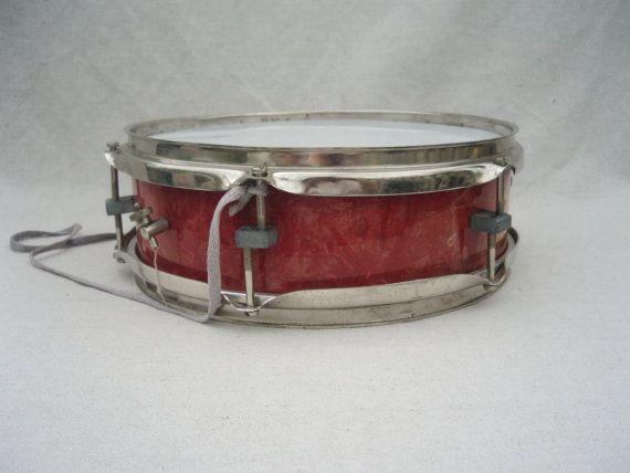Vintage Drum musical instrument red drum Pioneer drum Soviet