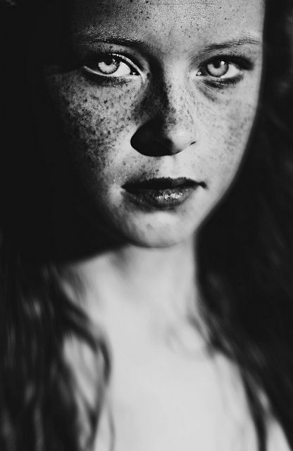"Black and white Girl portrait freckles face ""underground ..."