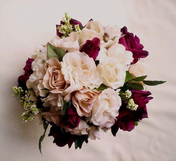 Silk Wedding Flowers Burgundy Wine Ivory Roses by AmoreBride, $110.00