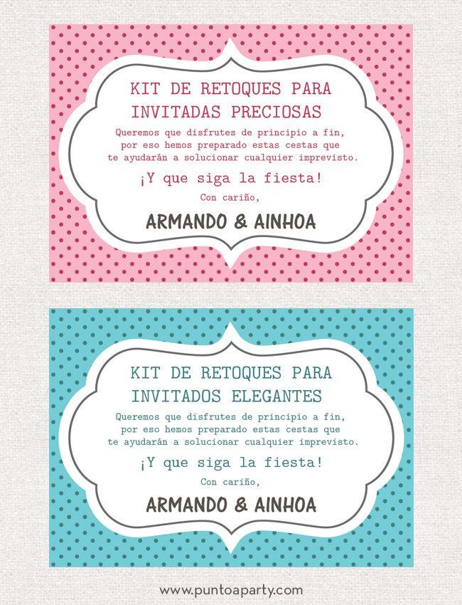 Carteles personalizados para las cestas de imprevistos en los baños de chicas y chicos para la boda de Armando y Ainhoa