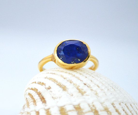 Oval Lapis Ring  September Birthstone Ring  by DaniqueJewelry