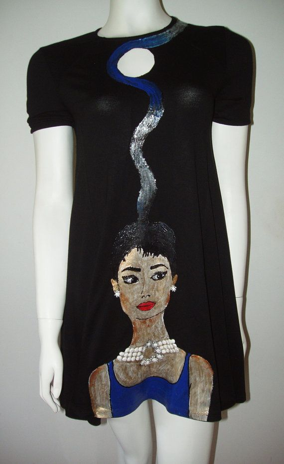 Hand painted dress top Audrey Black Swing cap sleeve  dress