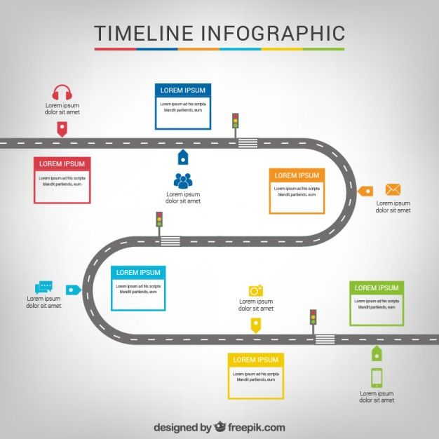 Free Vector Timeline Infographic With A Road #18446