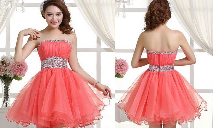 Coral Homecoming Dress,Sexy Homecoming Dresses,Tulle Homecoming Gown,Beading Prom Dress,Short Party Dress
