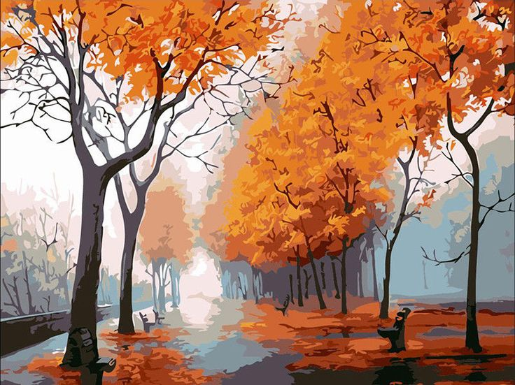 Self-Paint Oil Painting By Numbers Kit The Autumn Rain Road Art 40CMx50CM Canvas | eBay