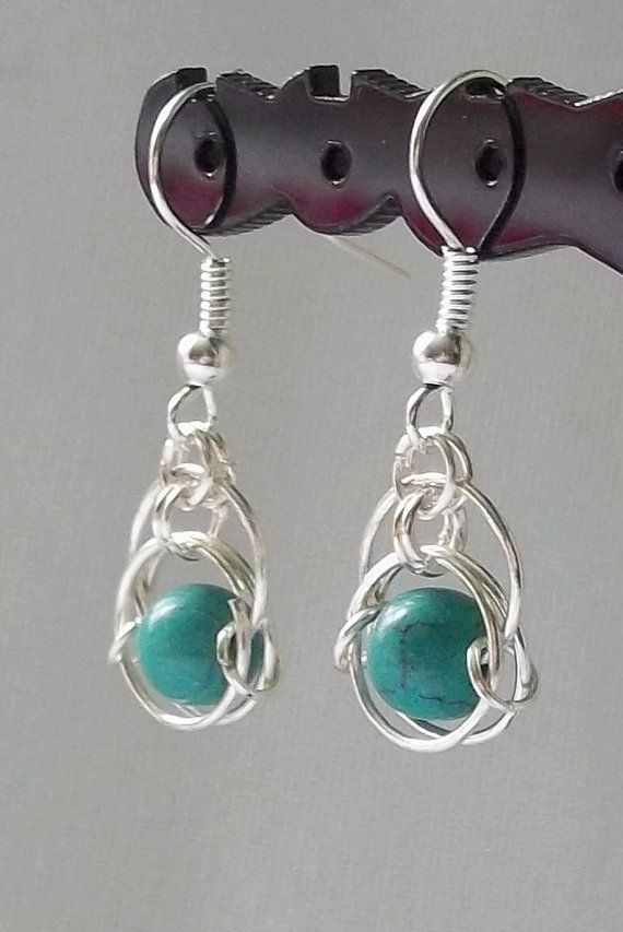 How clever! Silver Chainmaille Earrings Turquoise by DeChampDesigns on Etsy