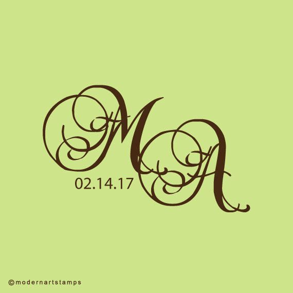 Monogram Stamp - Custom Rubber Stamps & Wedding Stamps by Modern Art Stamps