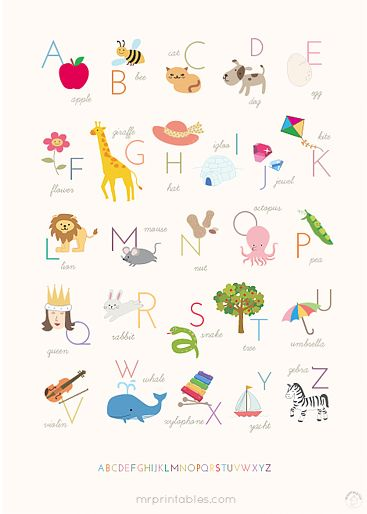 Printable Alphabet Posters (English, French, Spanish) ~    A sweet alphabet poster is a popular choice to decorate nursery's and kids rooms. It makes great wall deco and creates a fun learning zone at the same time. There are lovely printable posters in different original designs, languages and sizes.      Downloads @:  http://www.mrprintables.com/alphabet-posters.html