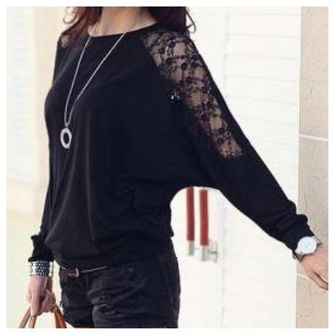 Beautiful Lacey top in Black One size fit Most! Material: Poly+Cotton+Lace Bust: 114cm Across Shoulder: 32cm Sleeve Length: 51cm Length: 68cm Hem: 72cm Waist: 82cm